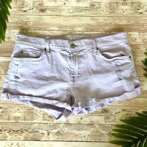 7 for All Mankind Lavender Distressed Shorts